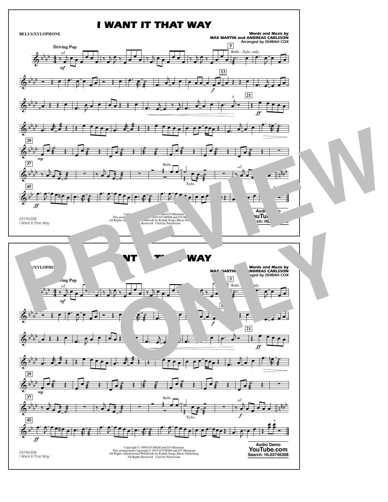 Backstreet Boys I Want It That Way (arr. Ishbah Cox) - Bells/Xylophone sheet music notes and chords