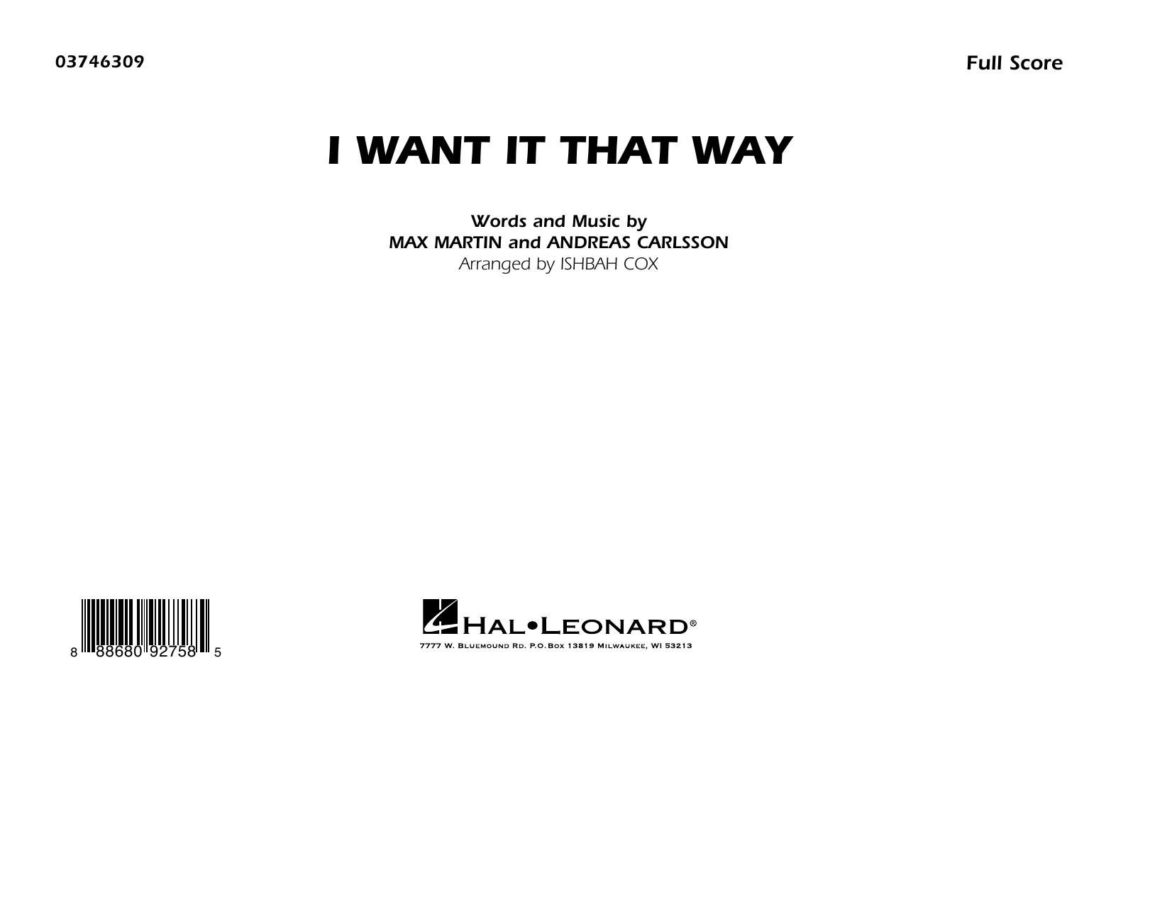 Backstreet Boys I Want It That Way (arr. Ishbah Cox) - Conductor Score (Full Score) sheet music notes and chords