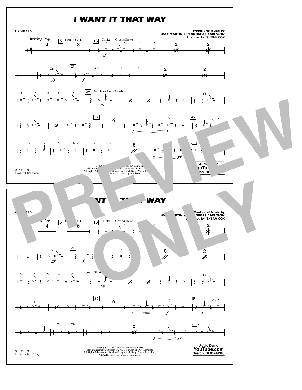 Backstreet Boys I Want It That Way (arr. Ishbah Cox) - Cymbals sheet music notes and chords