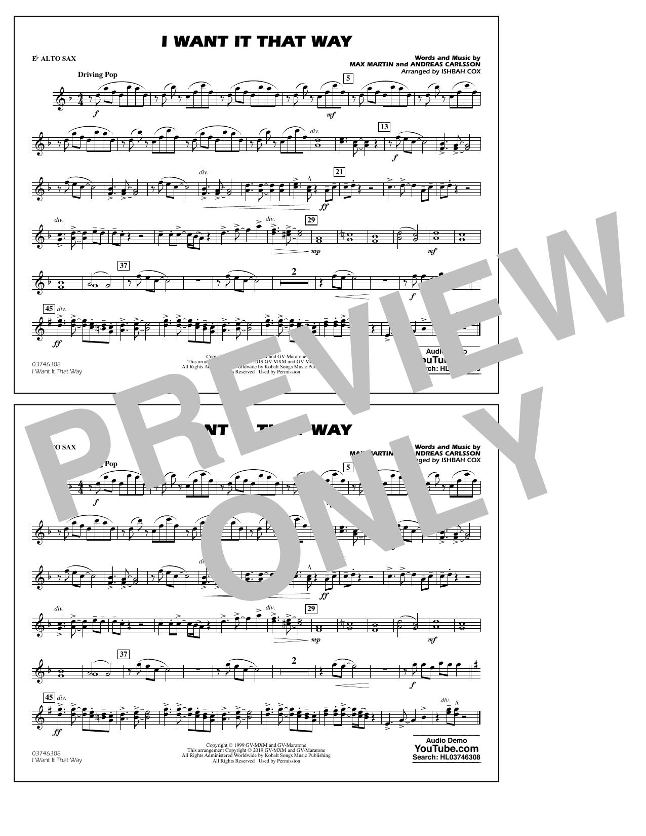 Backstreet Boys I Want It That Way (arr. Ishbah Cox) - Eb Alto Sax sheet music notes and chords. Download Printable PDF.