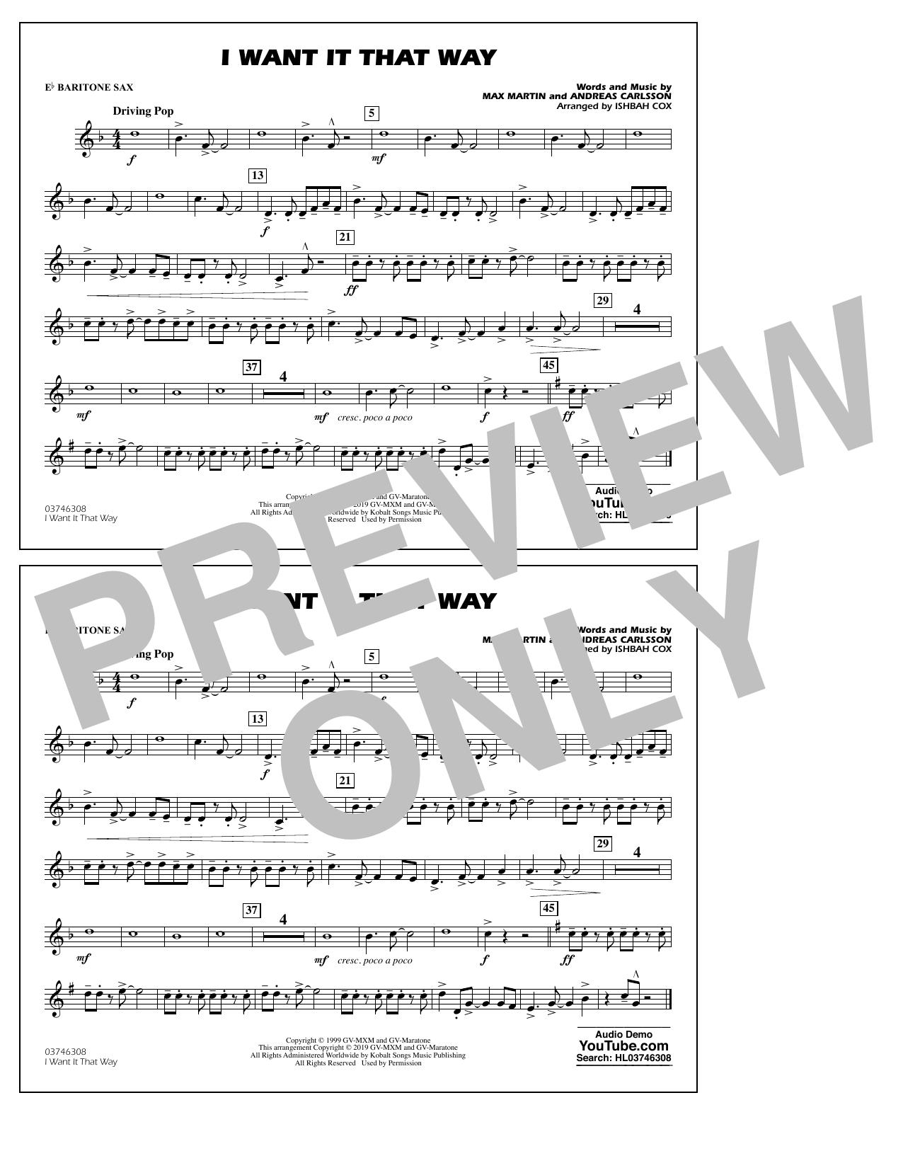 Backstreet Boys I Want It That Way (arr. Ishbah Cox) - Eb Baritone Sax sheet music notes and chords