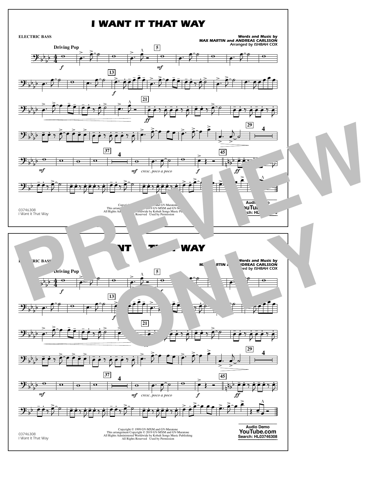 Backstreet Boys I Want It That Way (arr. Ishbah Cox) - Electric Bass sheet music notes and chords