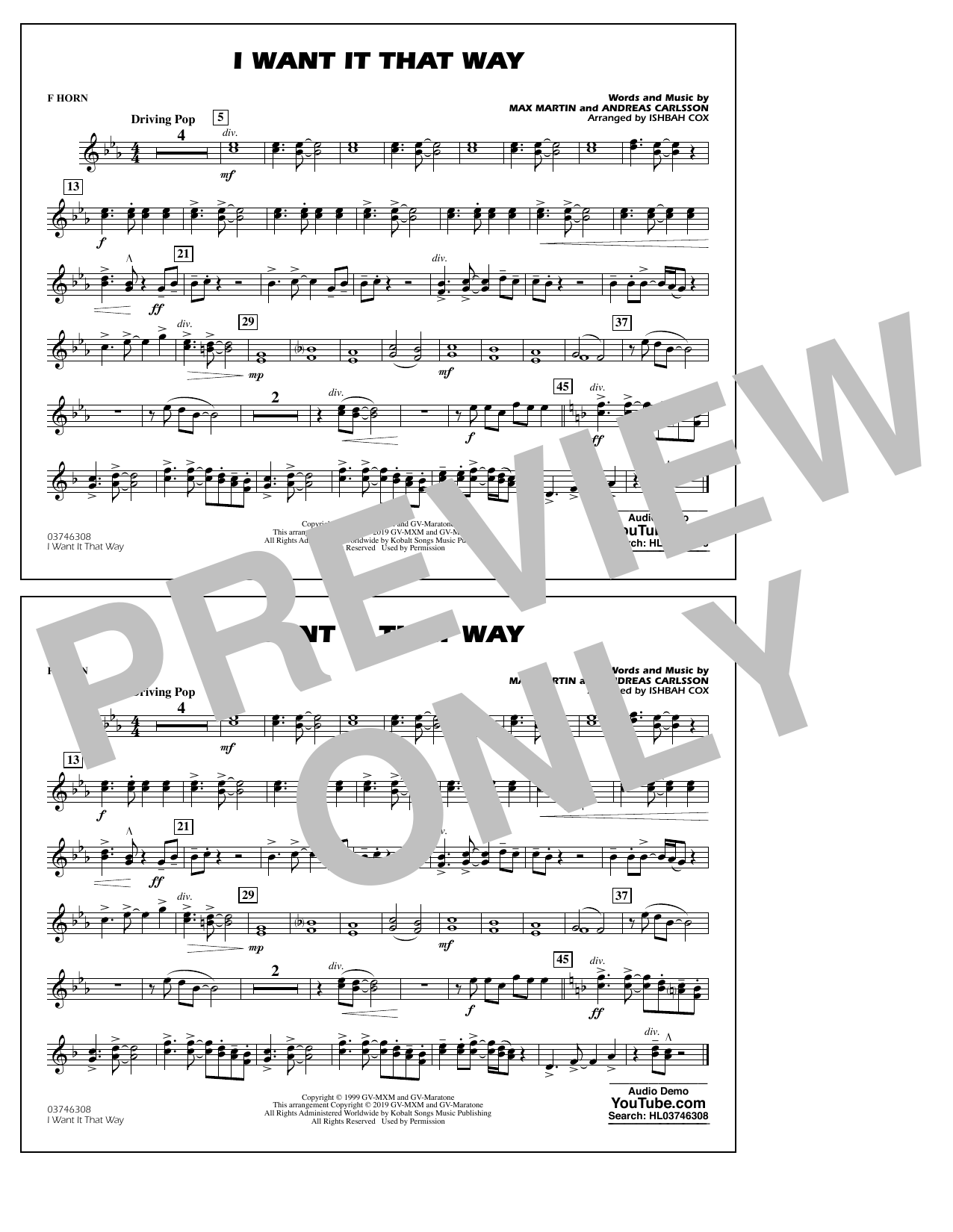 Backstreet Boys I Want It That Way (arr. Ishbah Cox) - F Horn sheet music notes and chords. Download Printable PDF.