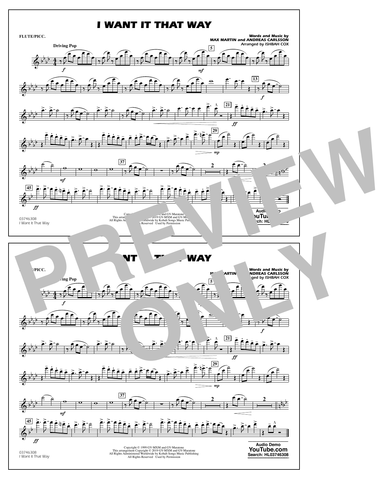 Backstreet Boys I Want It That Way (arr. Ishbah Cox) - Flute/Piccolo sheet music notes and chords
