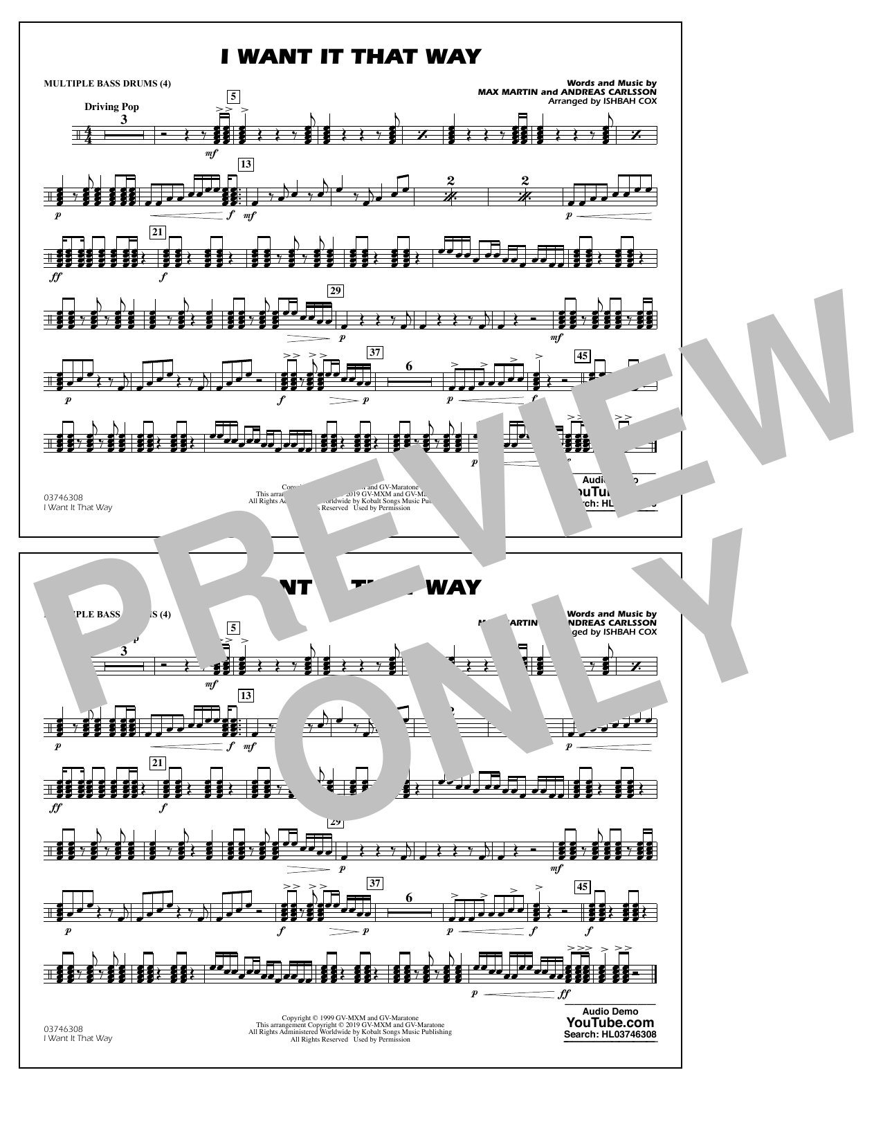 Backstreet Boys I Want It That Way (arr. Ishbah Cox) - Multiple Bass Drums sheet music notes and chords