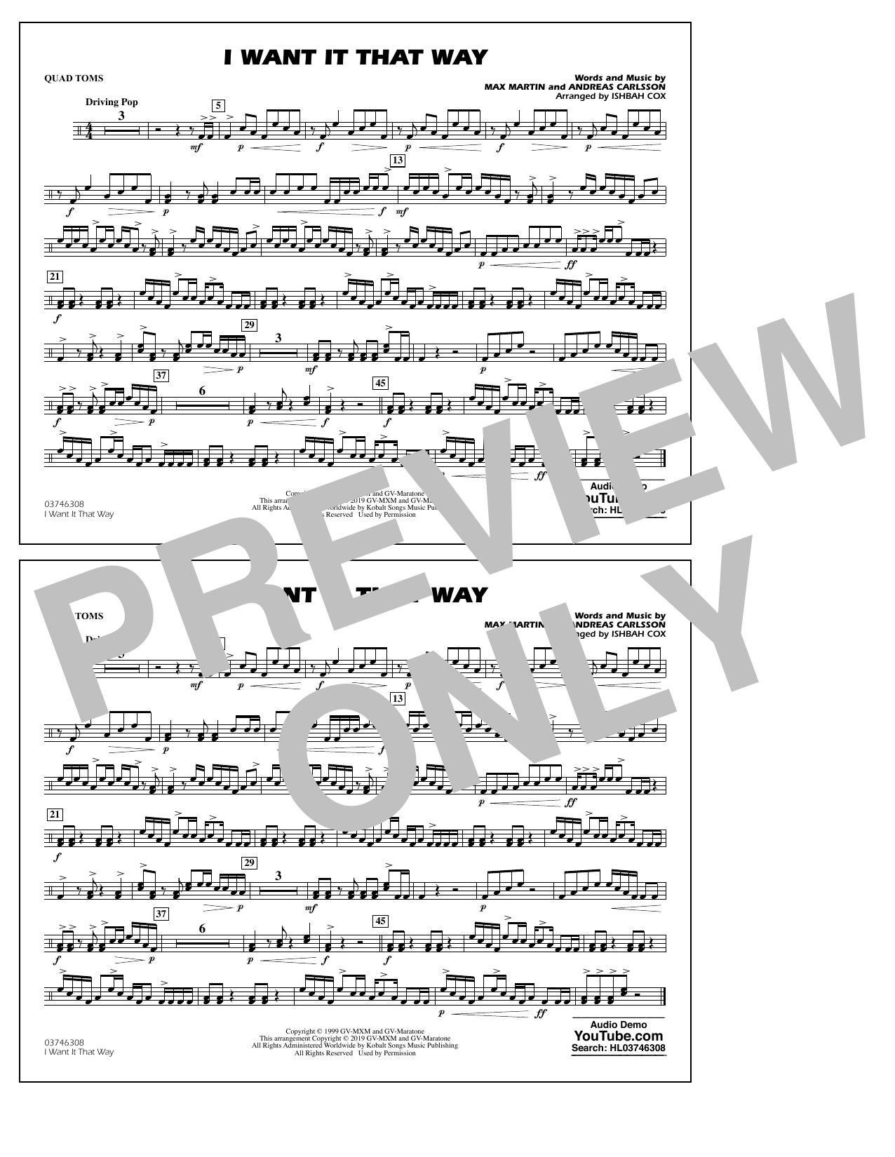 Backstreet Boys I Want It That Way (arr. Ishbah Cox) - Quad Toms sheet music notes and chords. Download Printable PDF.