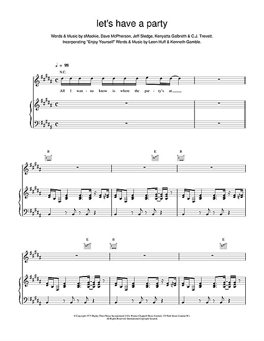 Backstreet Boys Let's Have a Party sheet music notes and chords