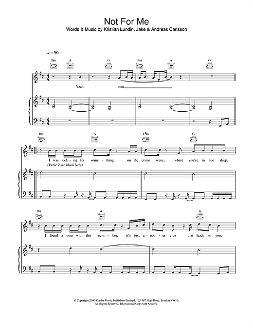 Backstreet Boys Not For Me sheet music notes and chords. Download Printable PDF.