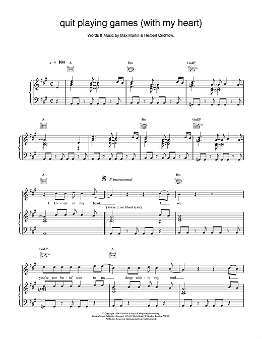 Backstreet Boys Quit Playing Games (With My Heart) sheet music notes and chords