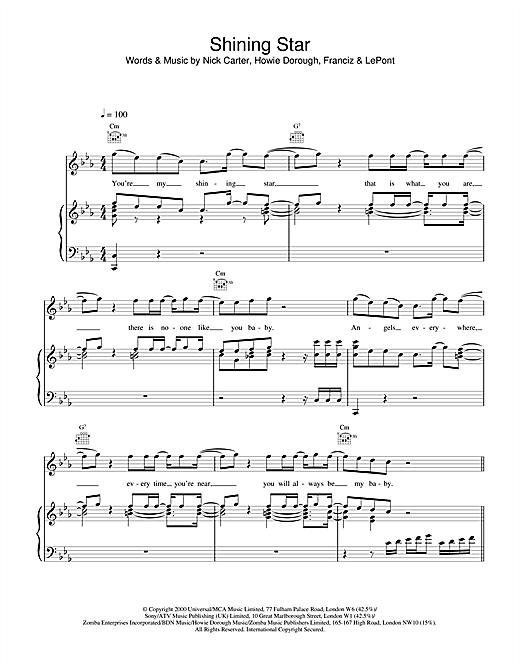 Backstreet Boys Shining Star sheet music notes and chords
