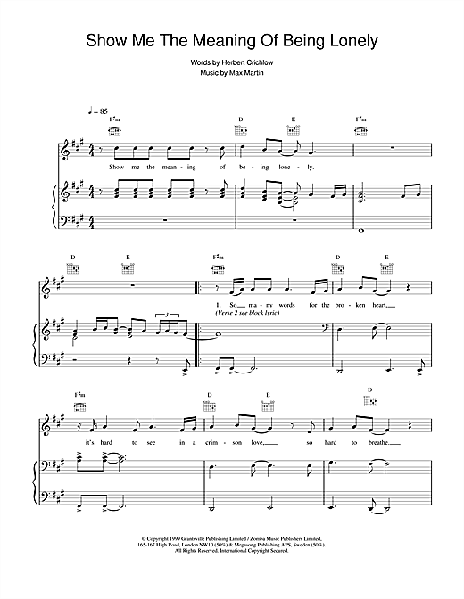 Backstreet Boys Show Me The Meaning Of Being Lonely sheet music notes and chords