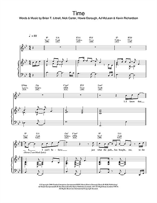 Backstreet Boys Time sheet music notes and chords