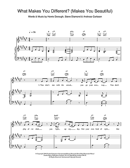 Backstreet Boys What Makes You Different? (Makes You Beautiful) sheet music notes and chords