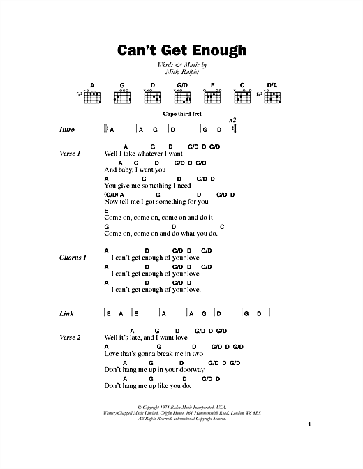 Bad Company Can't Get Enough sheet music notes and chords. Download Printable PDF.