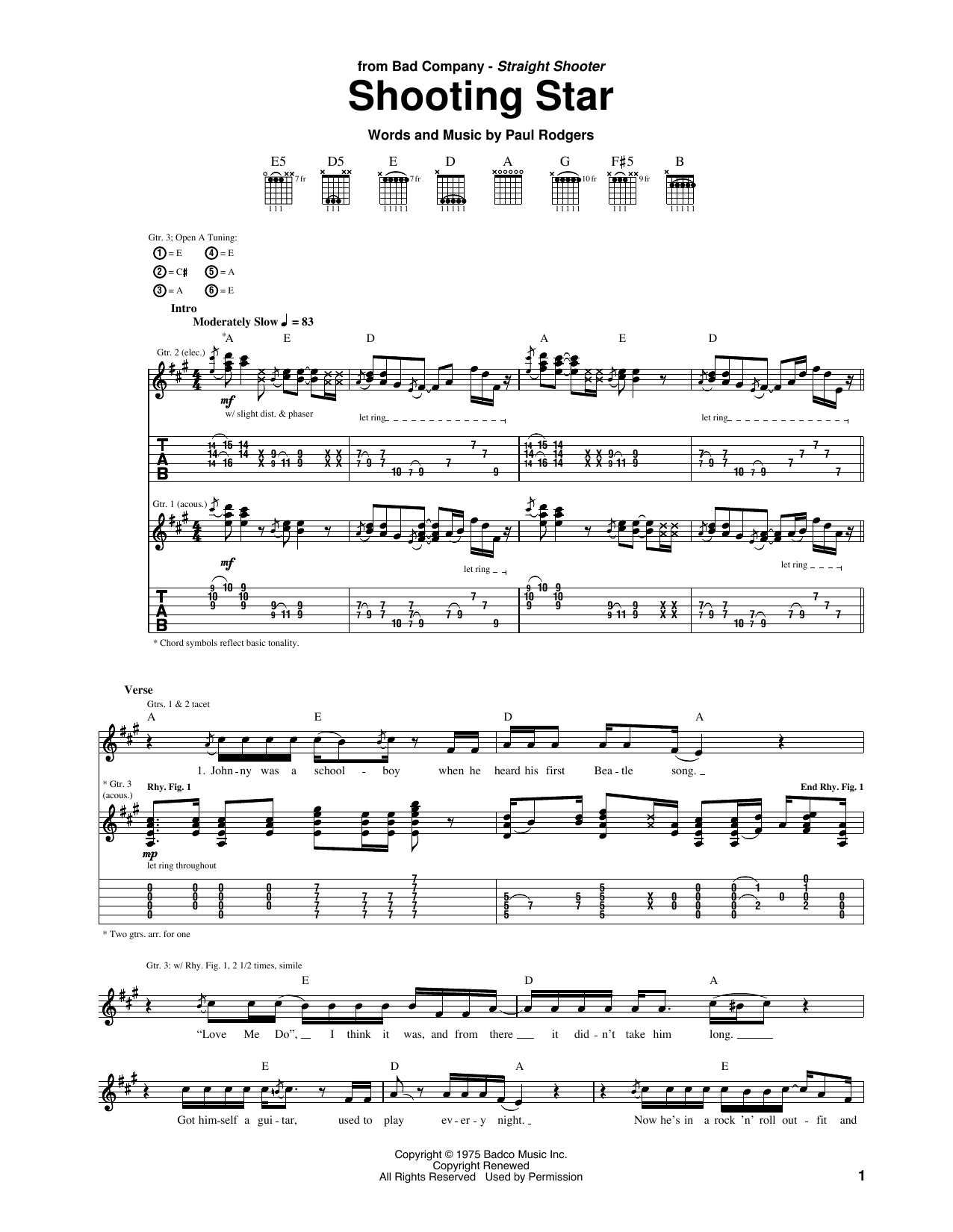 Bad Company Shooting Star sheet music notes and chords. Download Printable PDF.