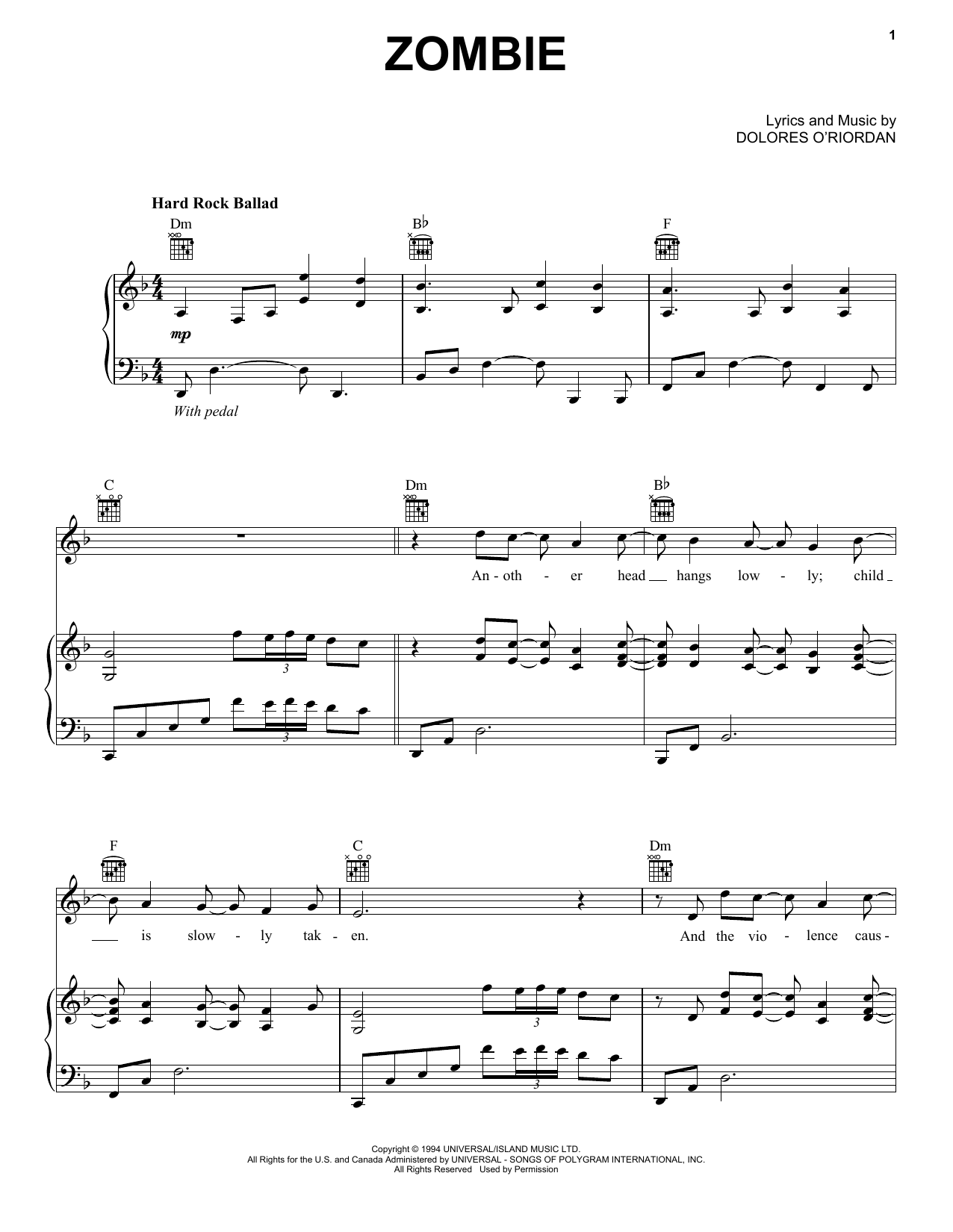 Bad Wolves Zombie Sheet Music Notes Chords Download Printable Piano Vocal Guitar Right Hand Melody Sku 251617