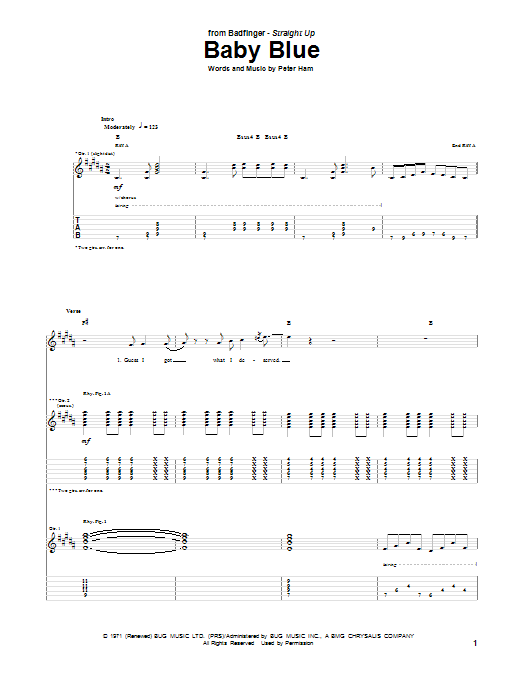 Badfinger Baby Blue sheet music notes and chords