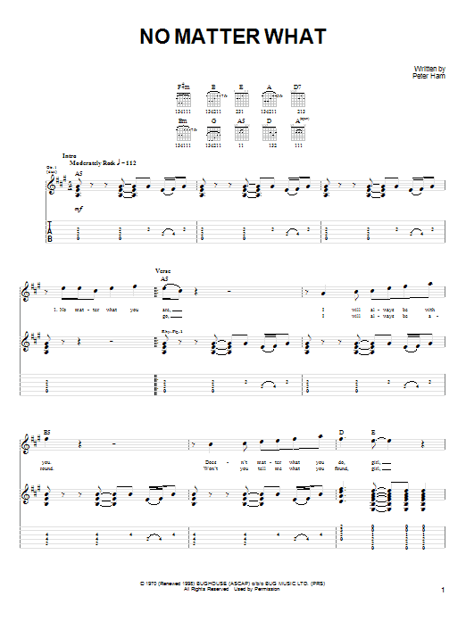 Badfinger No Matter What sheet music notes and chords. Download Printable PDF.