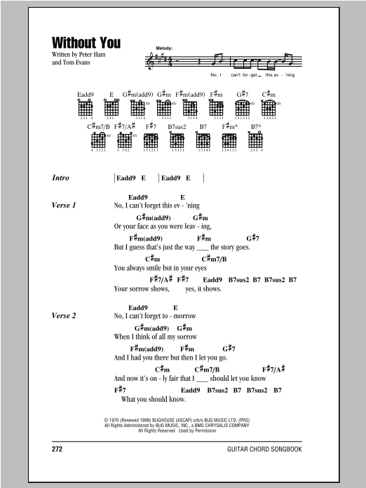Badfinger Without You sheet music notes and chords. Download Printable PDF.