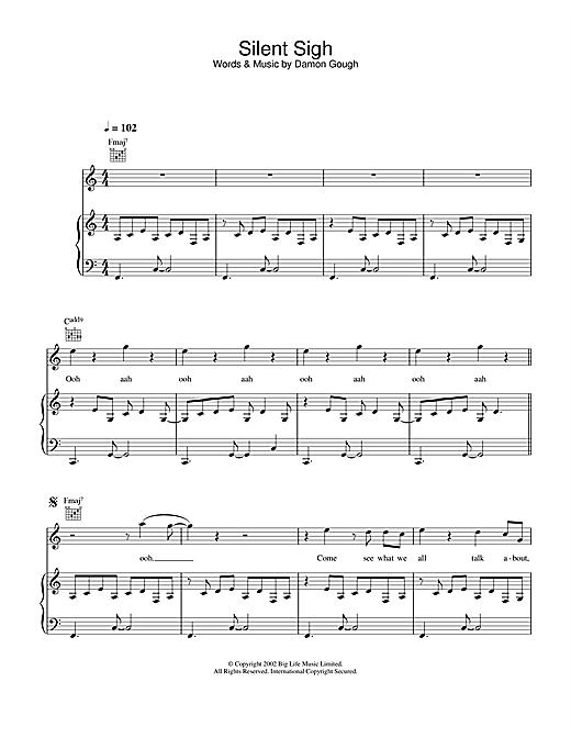 Badly Drawn Boy Silent Sigh sheet music notes and chords. Download Printable PDF.