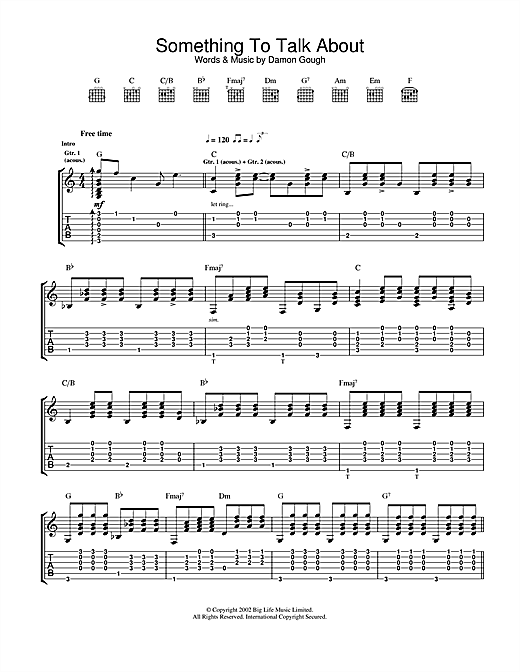 Badly Drawn Boy Something To Talk About sheet music notes and chords. Download Printable PDF.