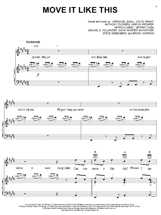 Baha Men Move It Like This sheet music notes and chords. Download Printable PDF.