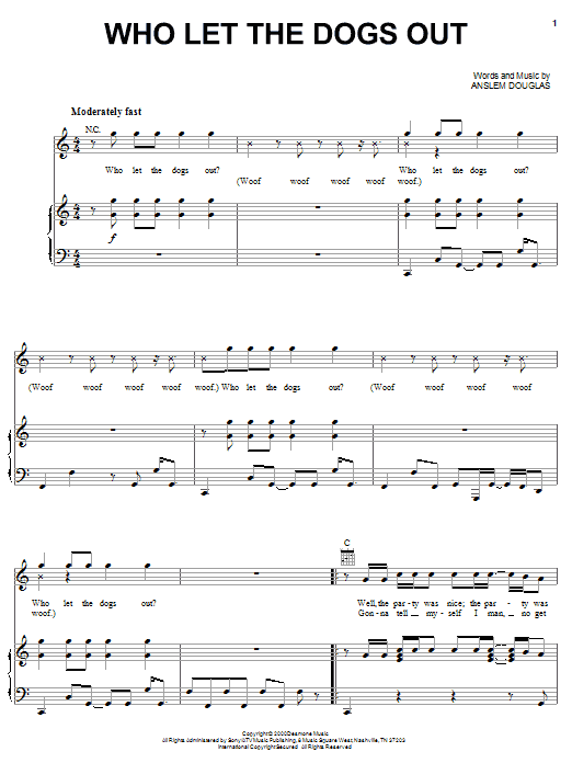 Baha Men Who Let The Dogs Out sheet music notes and chords