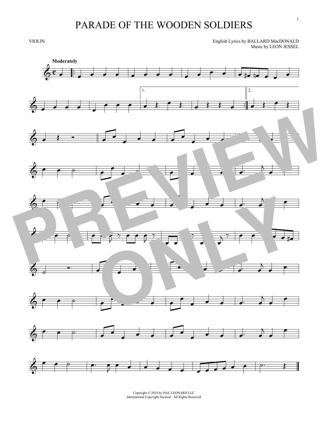 Ballard MacDonald and Leon Jessel Parade Of The Wooden Soldiers sheet music notes and chords