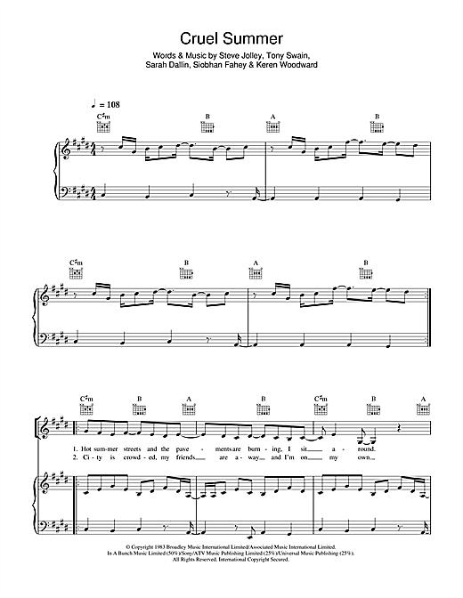 Bananarama Cruel Summer sheet music notes and chords. Download Printable PDF.