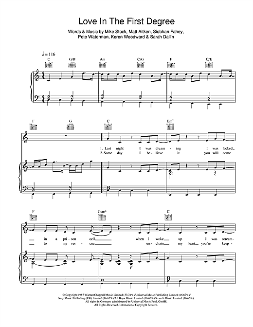 Bananarama Love In The First Degree sheet music notes and chords. Download Printable PDF.