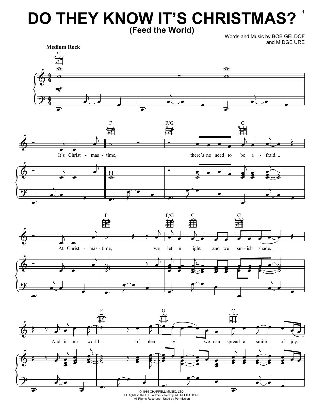 Band Aid Do They Know It's Christmas? sheet music notes and chords. Download Printable PDF.