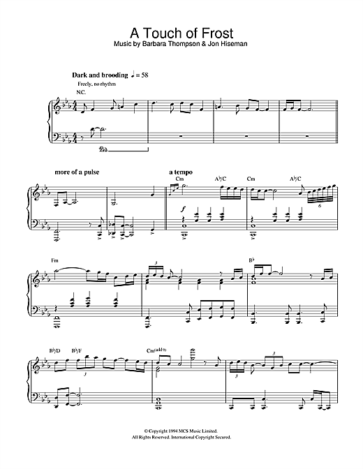 Barbara Thompson A Touch Of Frost sheet music notes and chords. Download Printable PDF.