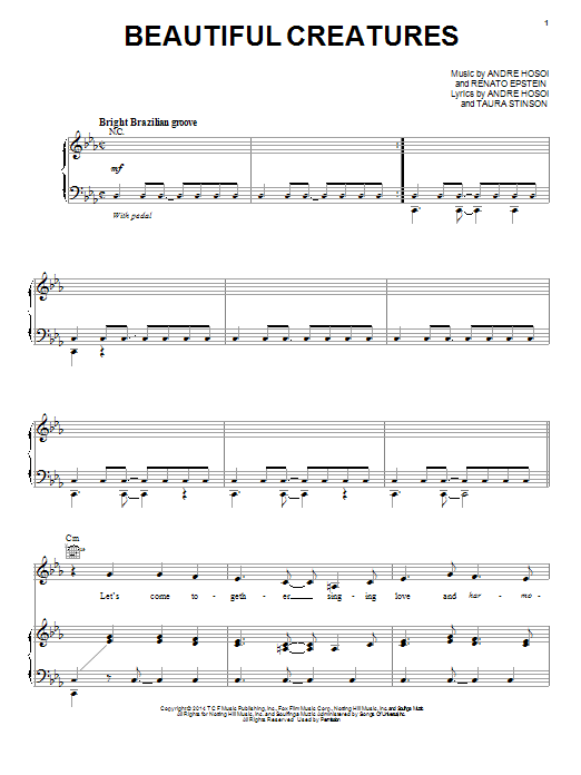 Barbatuques Beautiful Creatures sheet music notes and chords. Download Printable PDF.