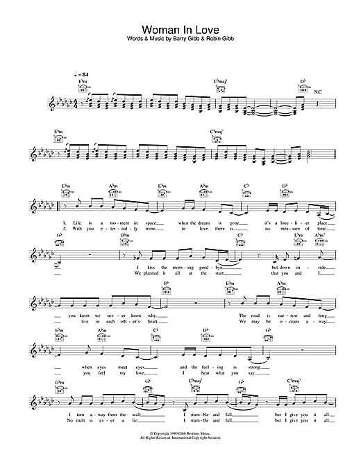 Barbra Streisand A Woman In Love sheet music notes and chords. Download Printable PDF.