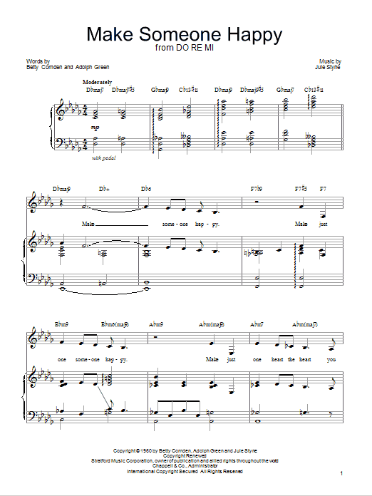 Barbra Streisand 'Make Someone Happy' Sheet Music Notes, Chords | Download  Printable Piano, Vocal & Guitar (Right-Hand Melody) - SKU: 75149