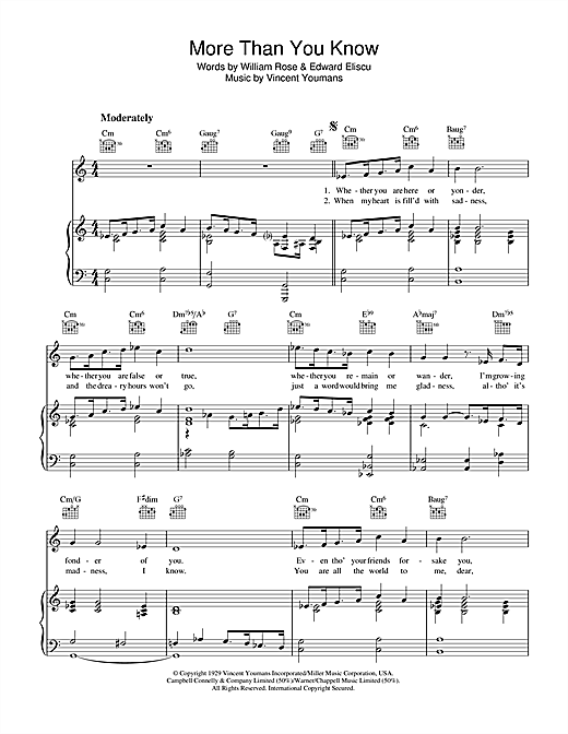 Barbra Streisand More Than You Know sheet music notes and chords. Download Printable PDF.