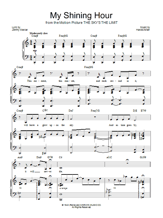 Barbra Streisand My Shining Hour sheet music notes and chords. Download Printable PDF.
