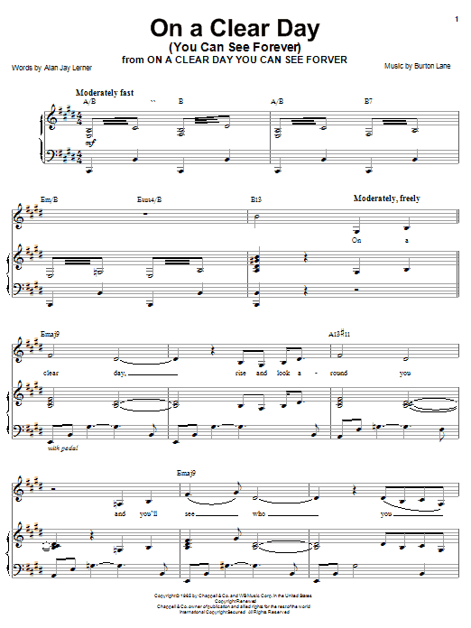 Barbra Streisand On A Clear Day (You Can See Forever) sheet music notes and chords