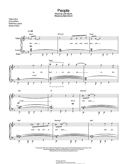 Barbra Streisand People (from Funny Girl) sheet music notes and chords