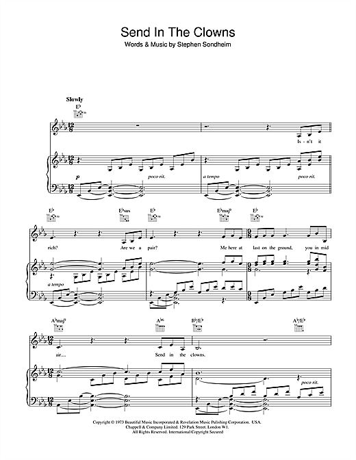 Barbra Streisand Send In The Clowns sheet music notes and chords. Download Printable PDF.