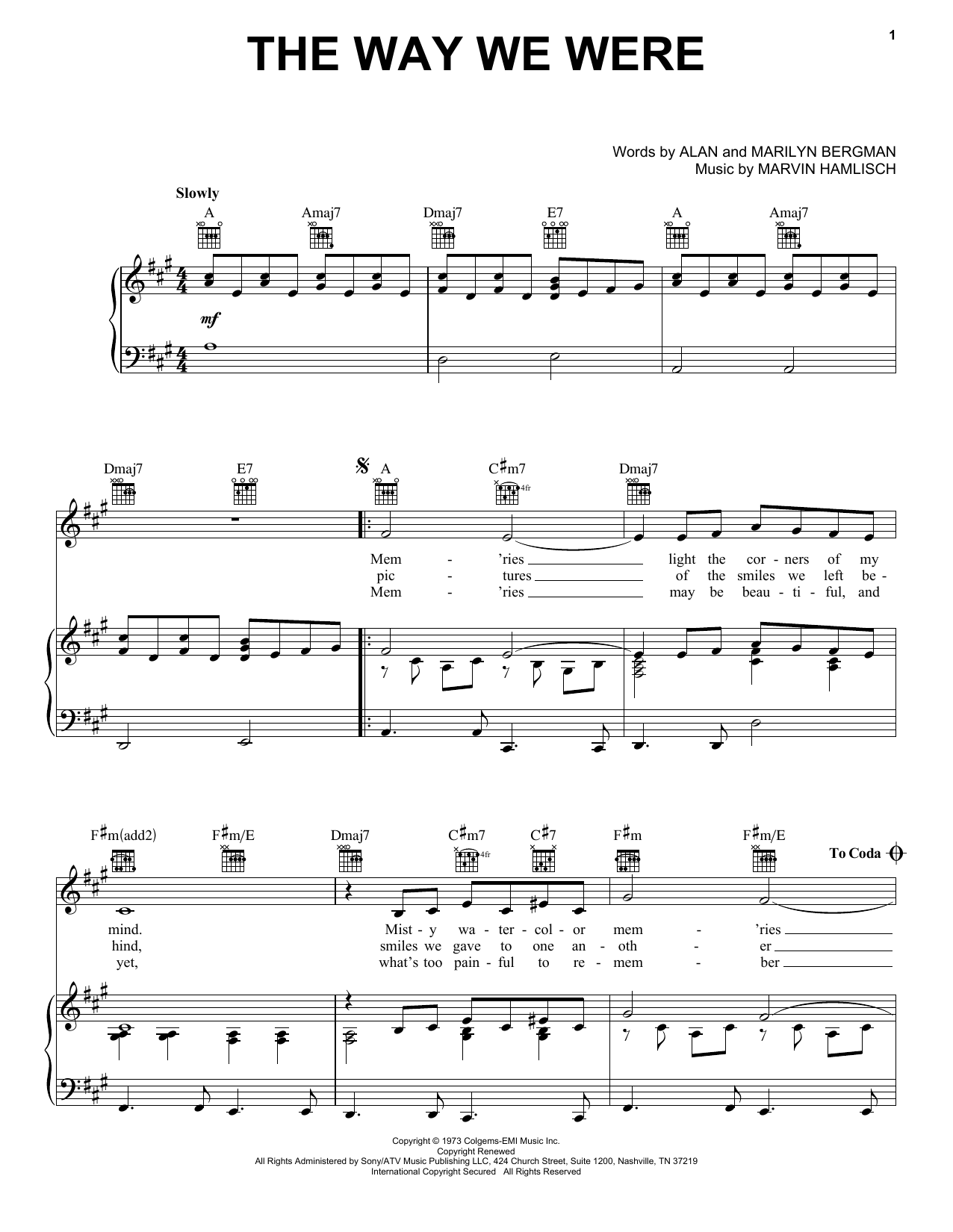 Barbra Streisand The Way We Were sheet music notes and chords. Download Printable PDF.