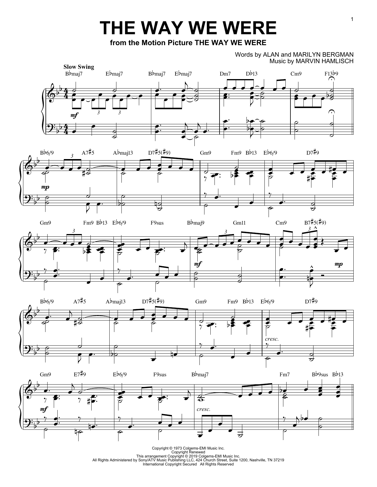 Barbra Streisand The Way We Were [Jazz version] sheet music notes and chords. Download Printable PDF.