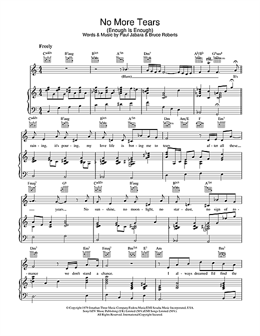 Barbra Streisand & Donna Summer No More Tears (Enough Is Enough) sheet music notes and chords