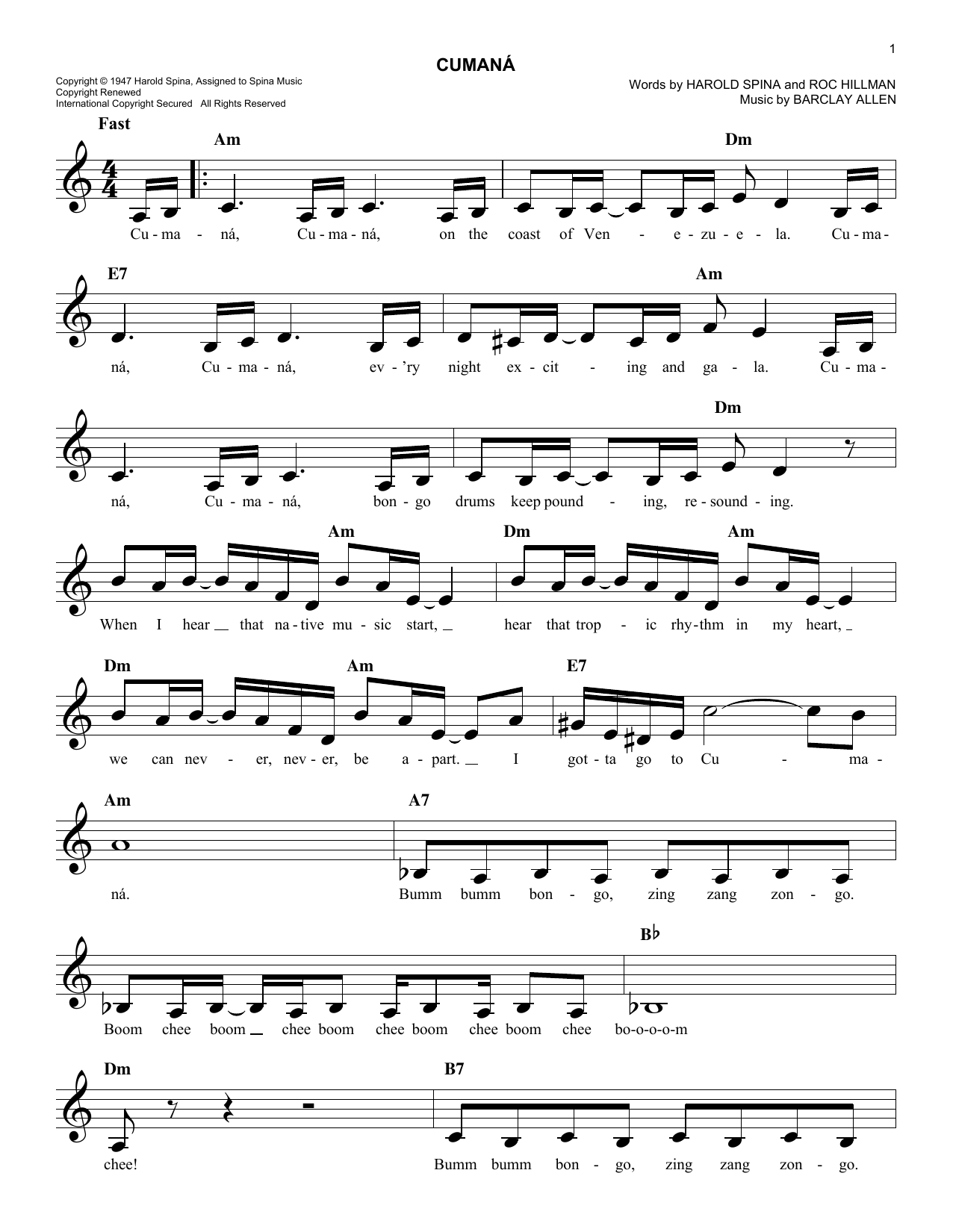 Barclay Allen Cumana sheet music notes and chords. Download Printable PDF.
