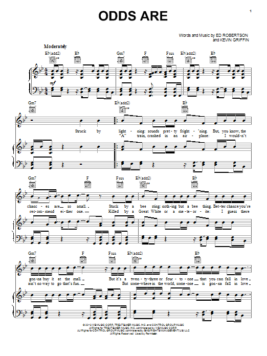 Barenaked Ladies Odds Are sheet music notes and chords. Download Printable PDF.