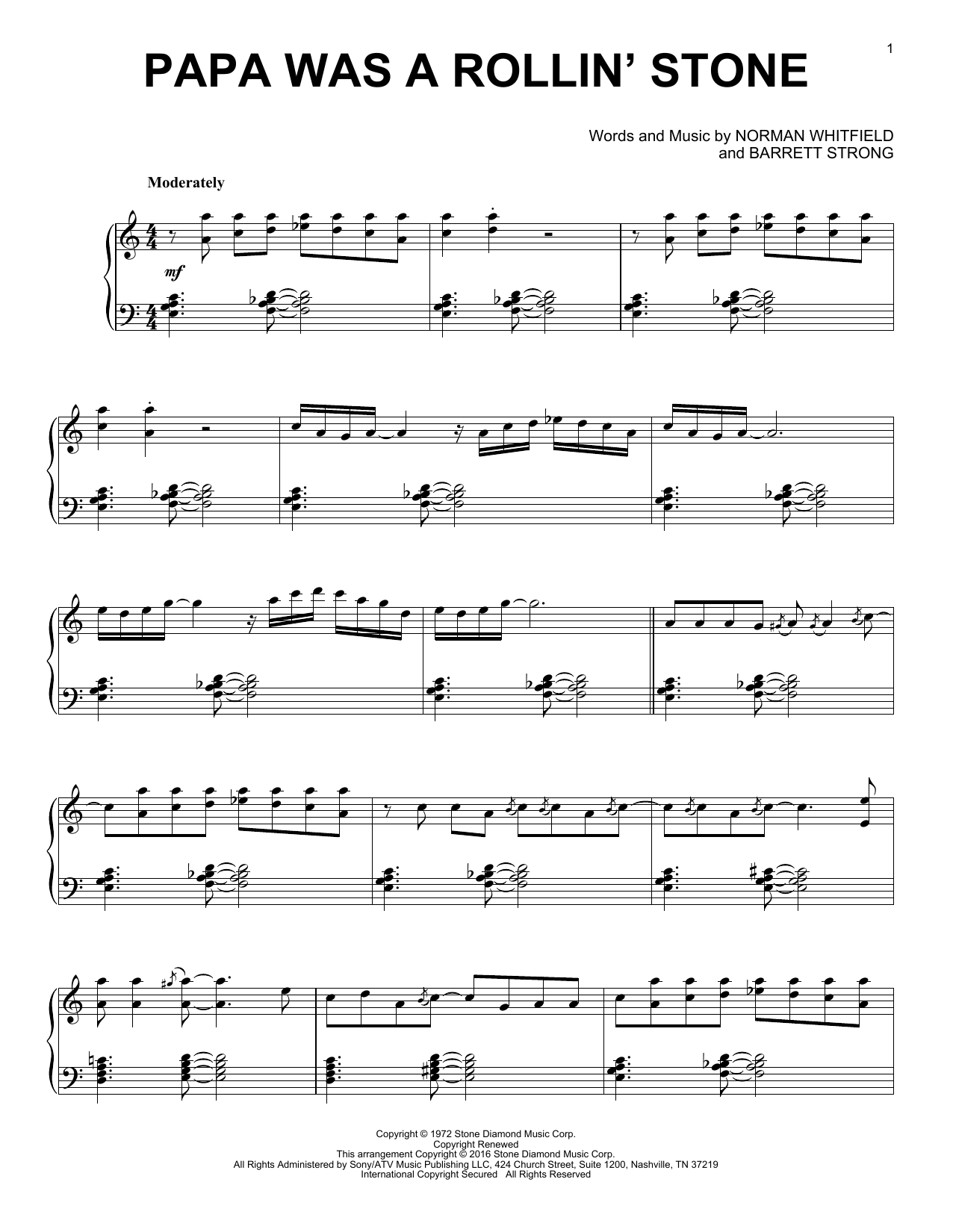 Barrett Strong Papa Was A Rollin' Stone sheet music notes and chords