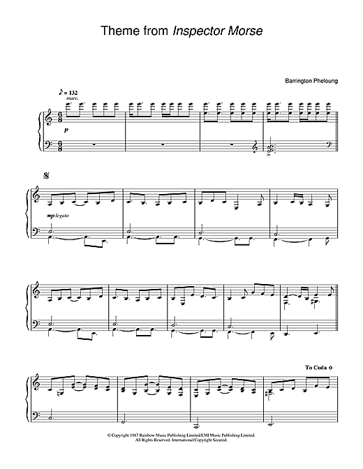 Barrington Pheloung Theme from Inspector Morse sheet music notes and chords. Download Printable PDF.