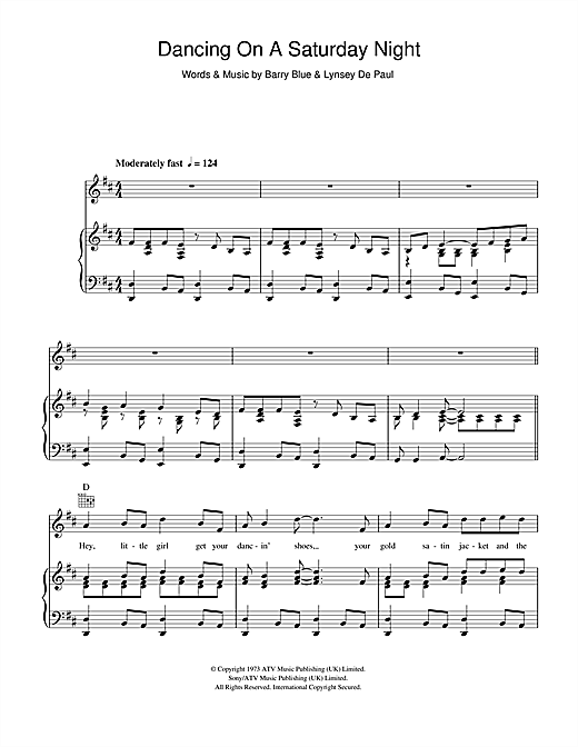 Barry Blue Dancing On A Saturday Night sheet music notes and chords. Download Printable PDF.