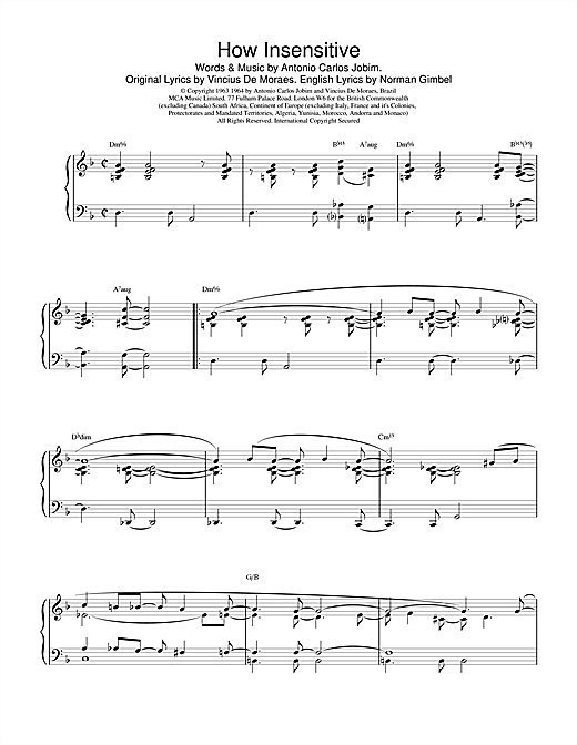 Barry Harris How Insensitive sheet music notes and chords