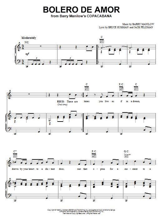 Barry Manilow Bolero De Amor sheet music notes and chords